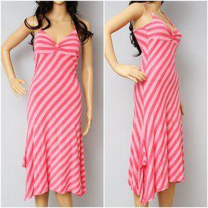 Ella Moss Asymmetrical Stripe Midi Dress Pink M